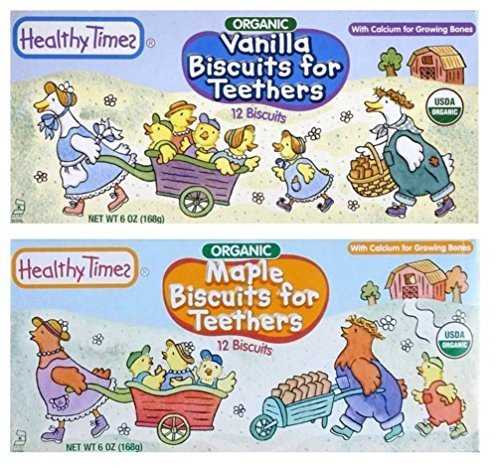 Healthy Times Organic Biscuits For Teethers With Cacium 2 Flavor Sampler Bundle: (1) Vanilla Teething Biscuits, and (1) Maple Teething Biscuits, 6 Oz. Ea. by Healthy Times