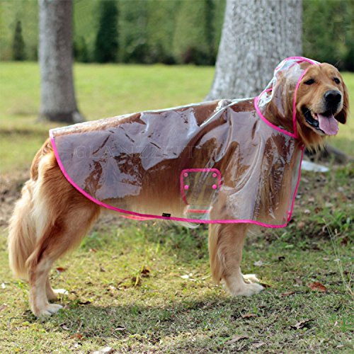 Glanzzeit Dog See-through Raincoat Cool Rain Jackets Adjustable Poncho for Medium Large Dogs 2XL to 6XL (3XL, Pink) -