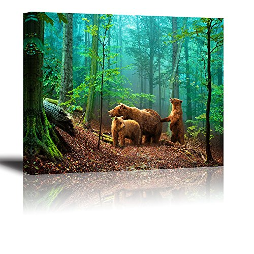 Brown Bear Wall Art for Kids Room, PIY Cute Animal Canvas Painting of Mother and Cub in Old-Growth Forest Picture, Adorable Family Wildlife Decor (1 Thick, Waterproof, Bracket Mounted Ready to Hang)