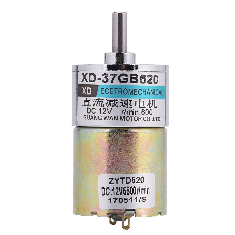 XD-37GB520 DC12V 15W 30RPM/600RPM Micro Gear Motor Box High Torque Adjustable Electric Motor Speed Reduction Gearbox, Output Shaft CW/CCW Brushed Geared Motor(30 Turns)