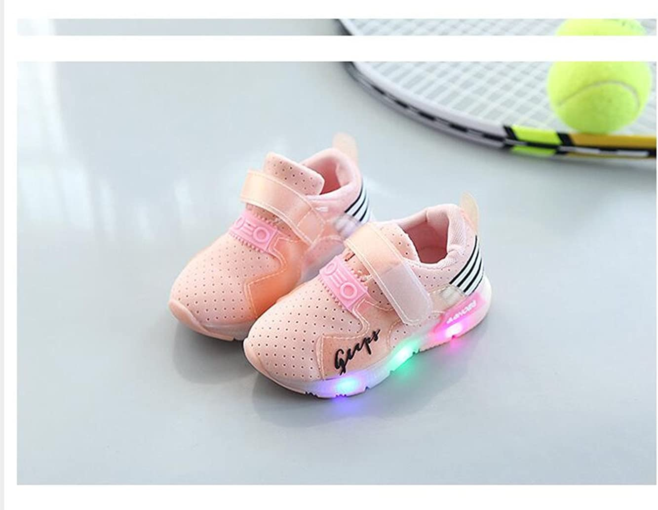 xiaoyang Childrens Shine Sports Shoes Boys Girls Non-Slip Fashion Sneakers Baby Toddler LED Shoes for Kids