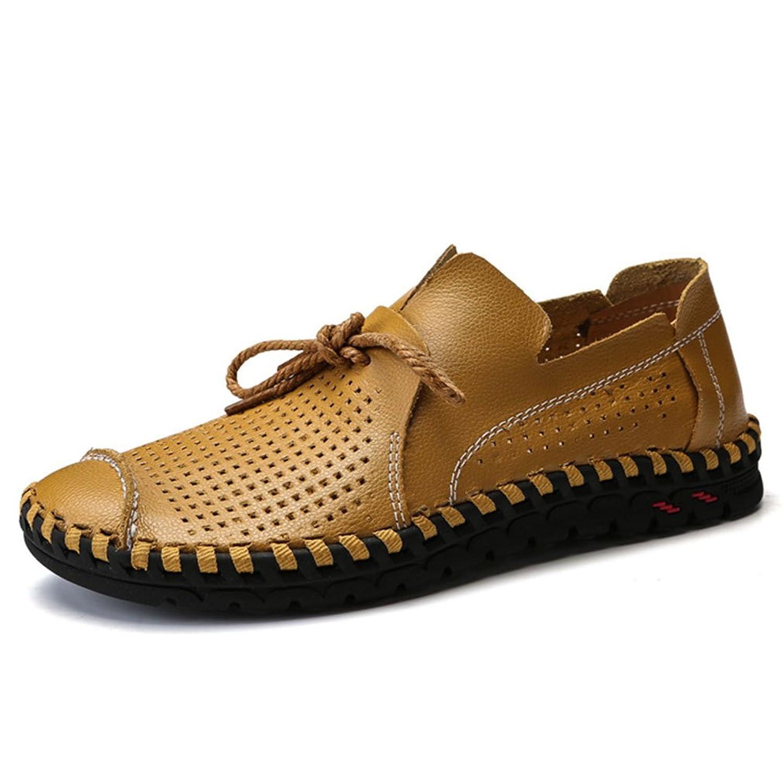 Zapatos para Hombre Zapatos Casuales Elegantes de Cuero Zapatos de conducción con Cordones Ocasionales Respirables Blanco, Negro, Amarillo E