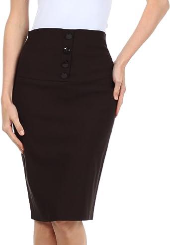 Sakkas - Falda de mujer ajustada de cintura alta talla pequeña con ...