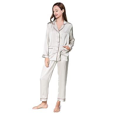 597924da37 COLD POSH Women 100% Silk Satin Pajamas Set Classic Long Sleeve Sleepwear  Button-Down