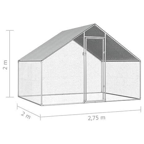 vidaXL Jaula Gallinero de Exterior de Acero Galvanizado 2.75x2x2m ...