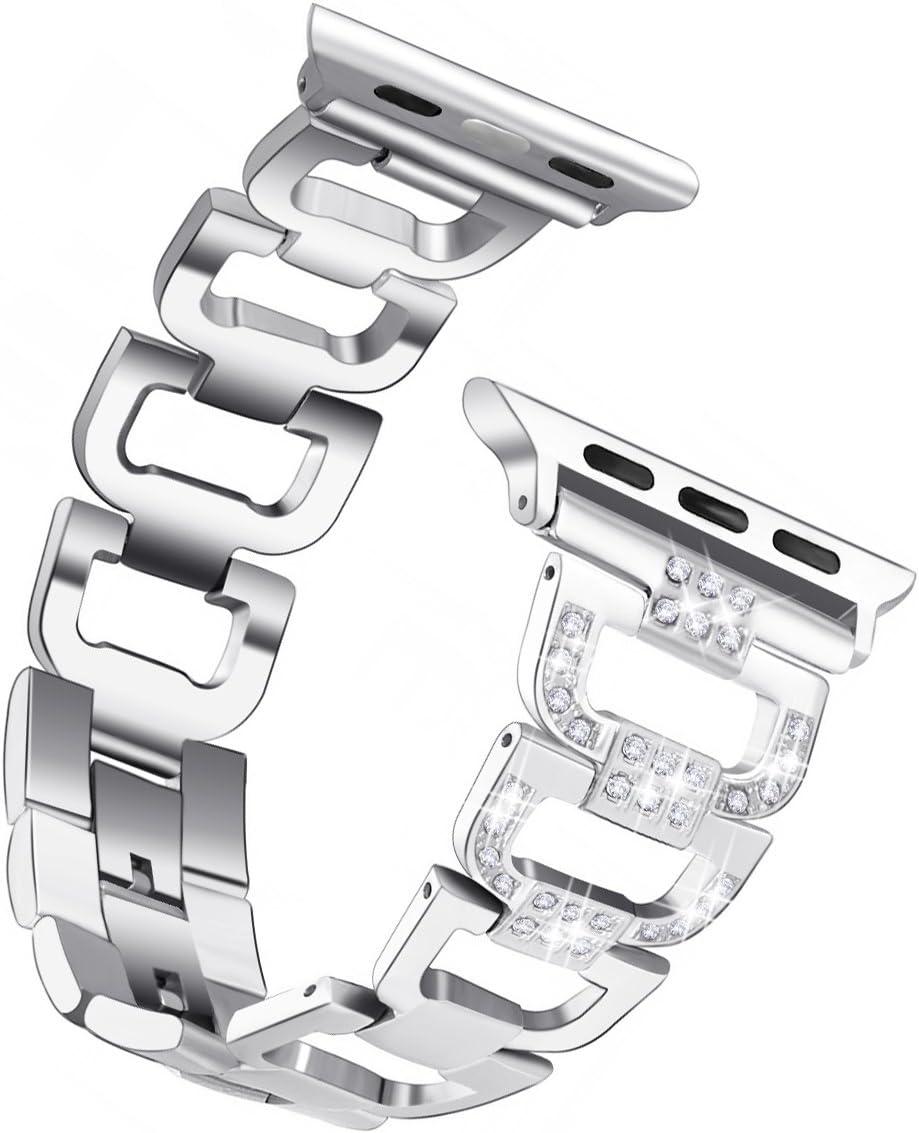 Yakuta Band Compatible A Watch Band Stainless Steel Wristband Strap for iWatch Series 1/2/3/4 38mm/40mm, Diamond Rhinestone