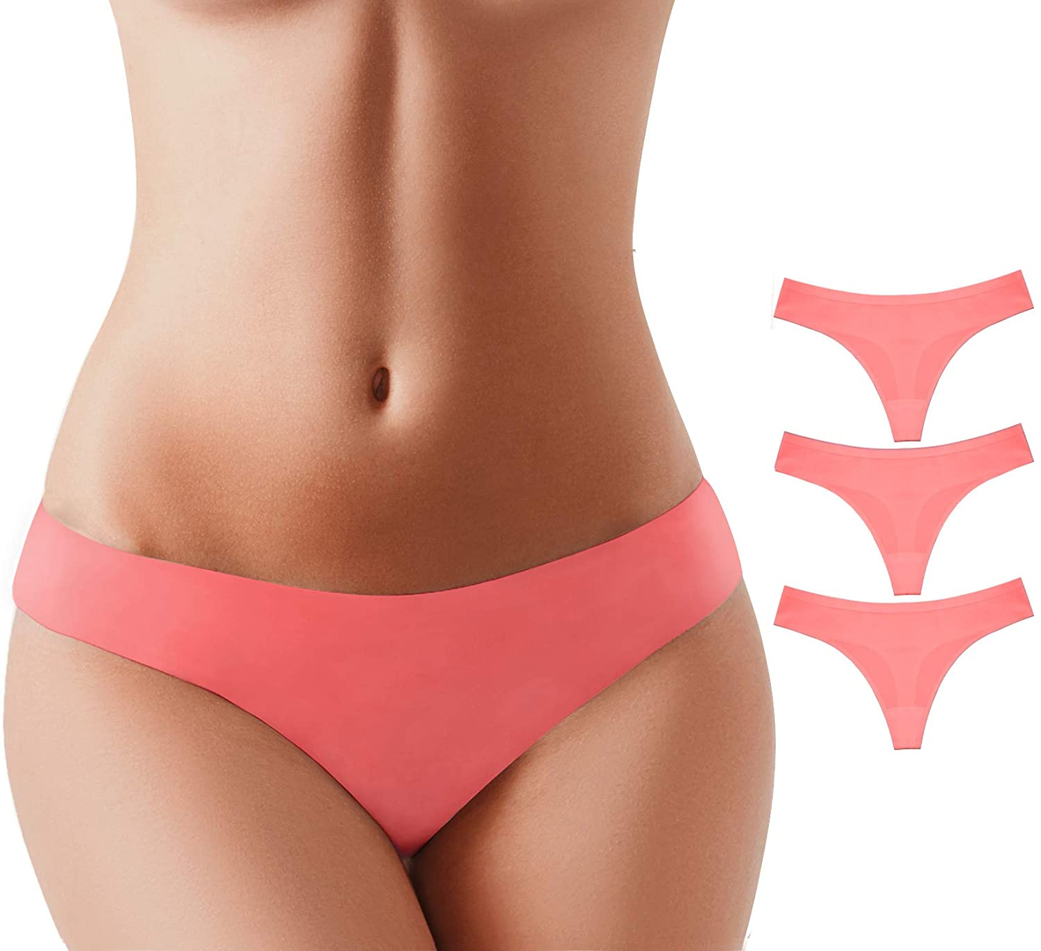 6 Pack/&3 Pack/&1 Pack BUBBLELIME XS-XL Sports Thongs for Women Low Rise Power Pure Stretch No Show Nylon
