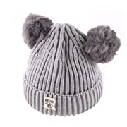 Tronet Baby Winter Hat,Newborn Kids Boys Girls Beanie Cap Warm Crochet Knit Hat (Gray, 2-8 Years Old)