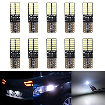 TOPWINRR 10PCS Bombillas LED Coche T10 W5W 194 Canbus Wedge Lampara Exterior Luces Laterales 12V: Amazon.es: Coche y moto