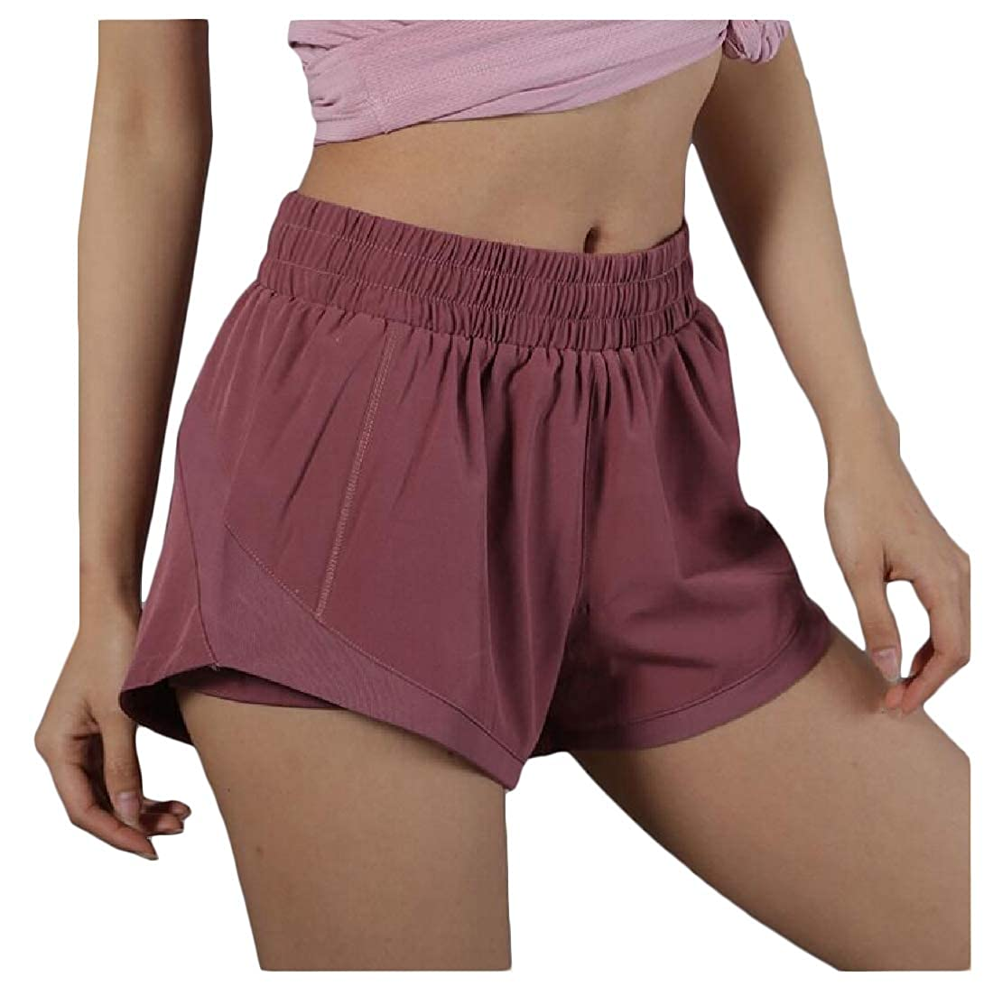Etecredpow Womens Elastic Waist Solid Sports Quick Dry Short