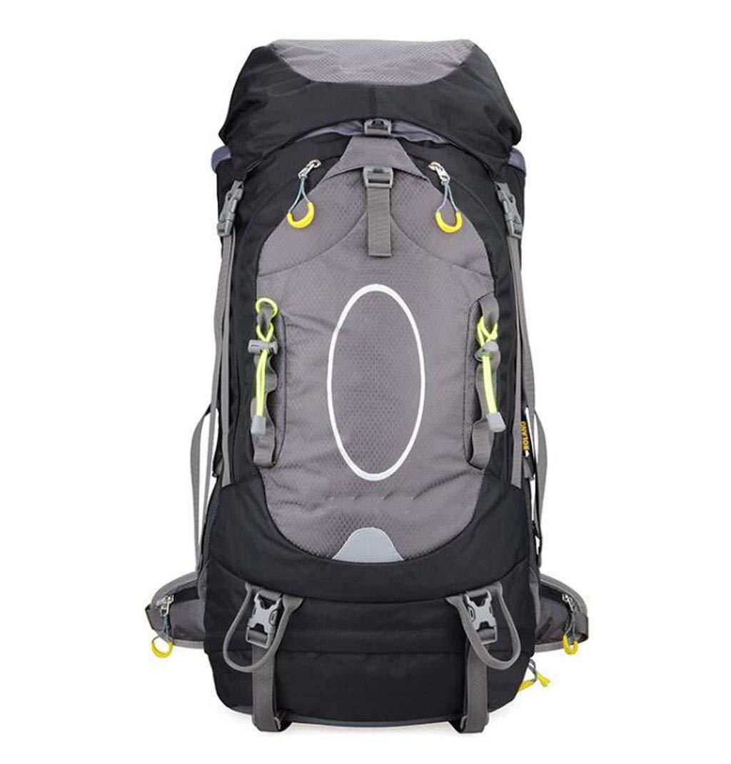 JSHFD 登山用バッグ ショルダー旅行用アウトドアバックパック ハイキング 防水 リュックサック 55+5L B07GFLBNQM ブラック
