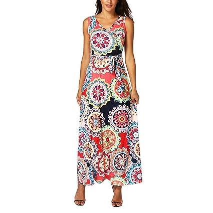 b2f14071650 2018 Hot Sale! Womens Bohemian Printed Wrap Bodice Sleeveless Crossover Maxi  Dress (Red