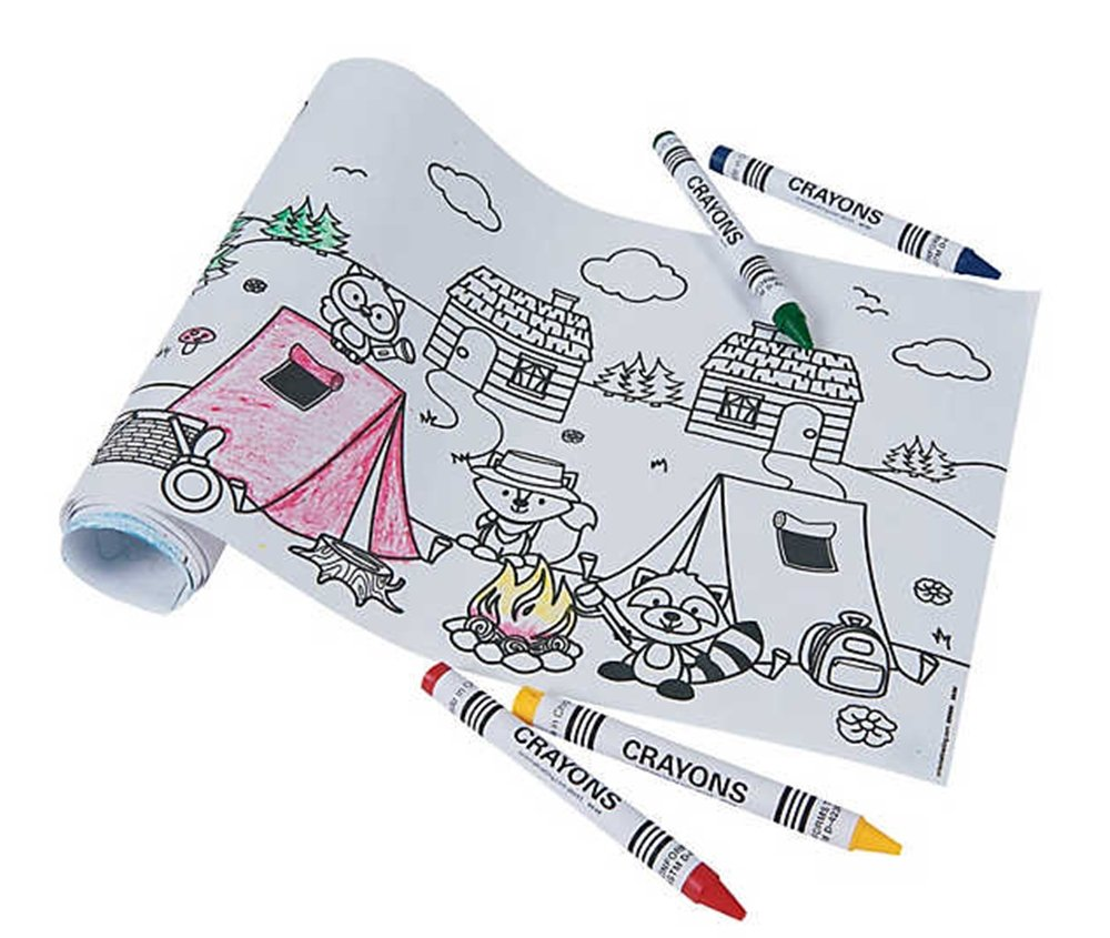 CAMPING PARTY FAVORS toyco Camping Woodland Animal Coloring Rolls with Crayons Sets 12