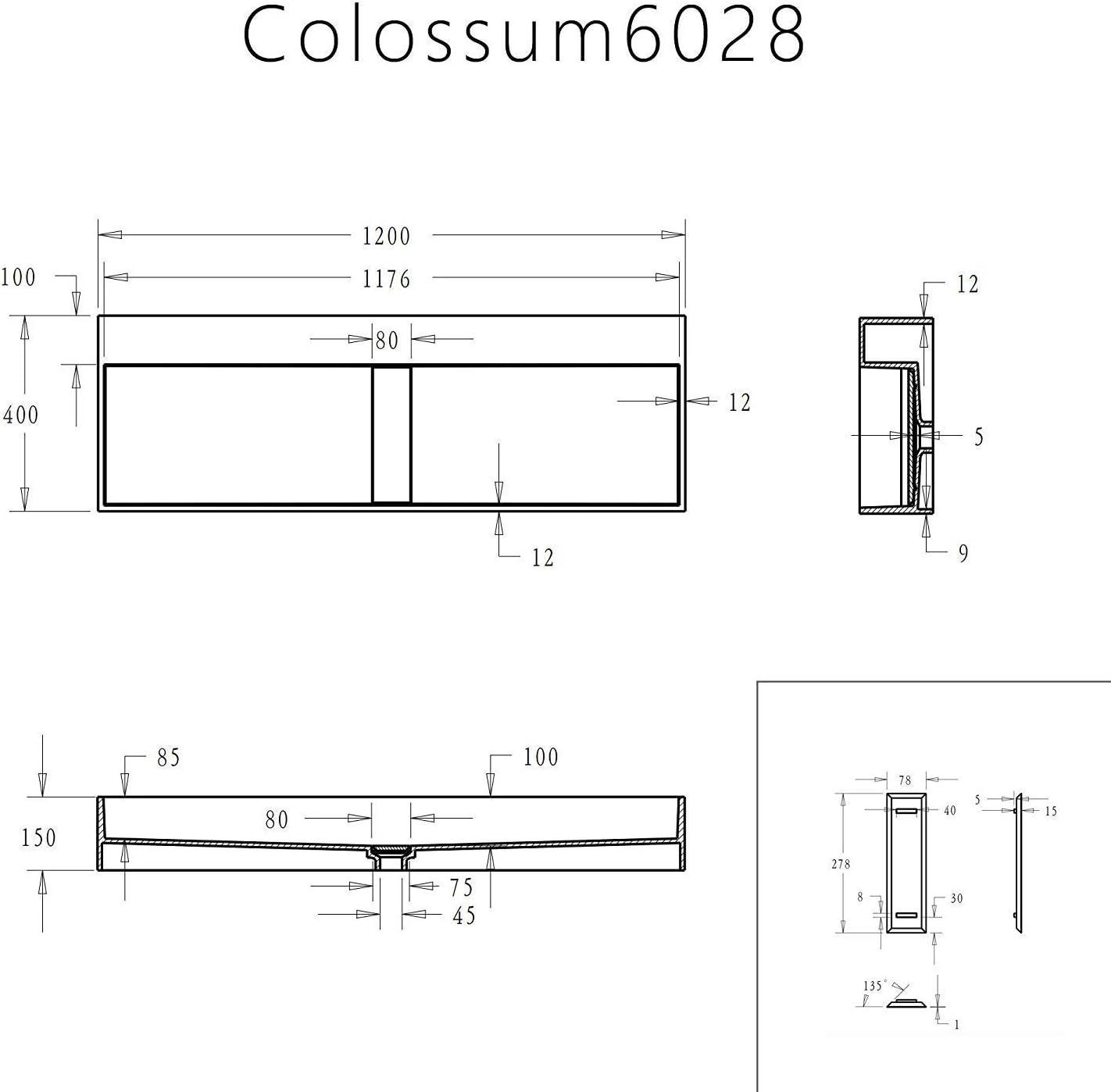 Mai /& Mai Lavabo Suspendu Vasque /à Poser Gris Noir Mat 120cm /Évier Lave Mains Salle de Bain avec Cache Bonde Col6028