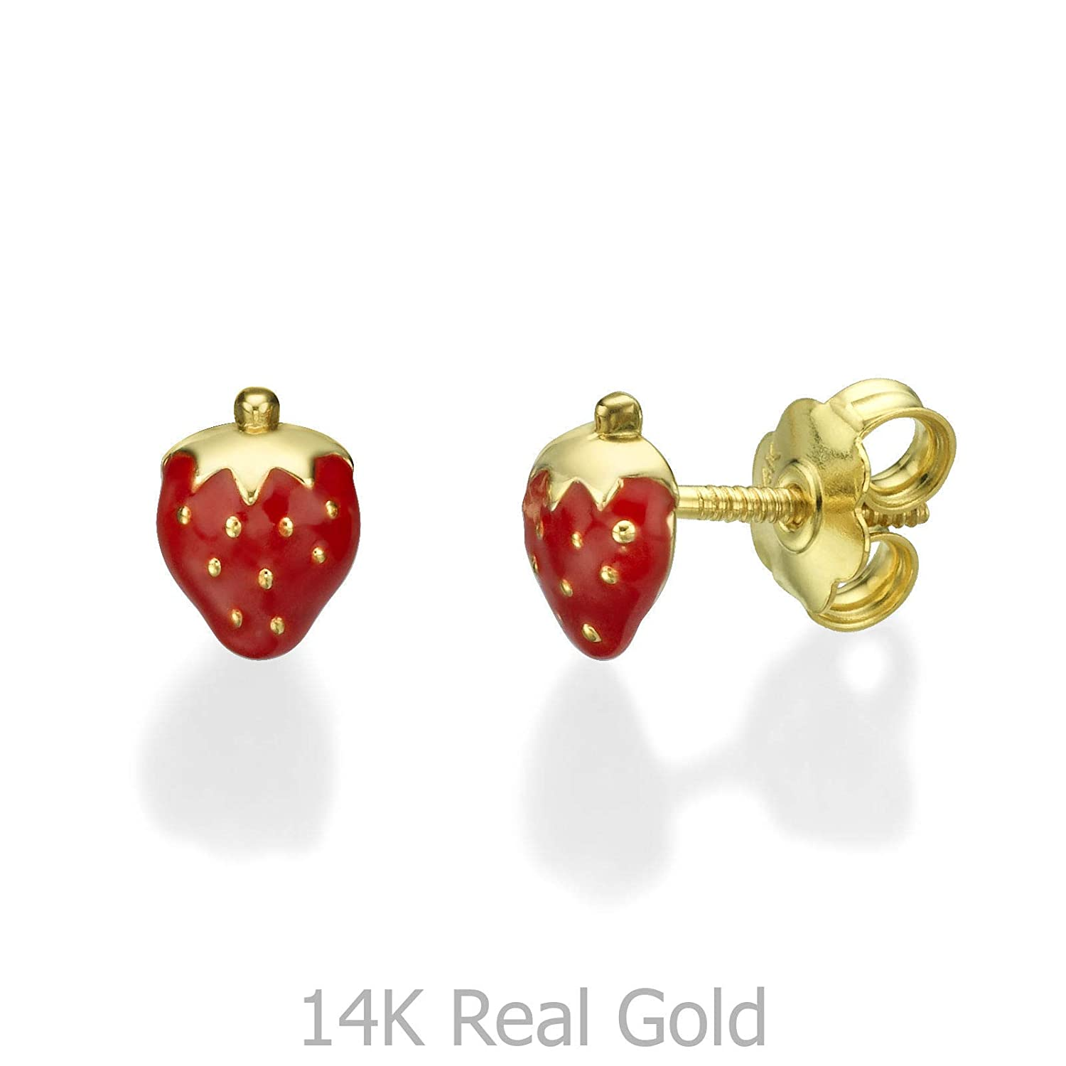 e835f723a Amazon.com: 14K Solid Yellow Gold Enamel Strawberry Screw Back Stud Earrings  for Girls Children Gift Kids: Jewelry