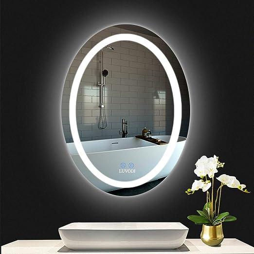 LUVODI 500 x 700mm Espejo Ba/ño Antivaho Espejo de Ba/ño Pared con Iluminaci/ón LED y Interruptor T/áctil 3 Modos Ajustables Espejo Moderno para Tocador Dormitorio