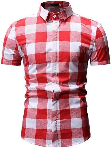 Camisa De Manga Corta De Verano para Hombre Casual A Cuadros Top: Amazon.es: Ropa y accesorios