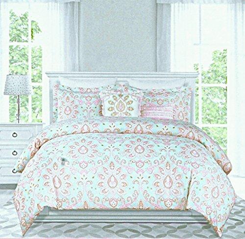 nicole miller girls duvet cover princess bedding 3pc set queen 100 cotton vintage lace paisley