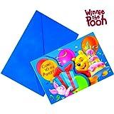 6 Cartes invitation + enveloppes Winnie birthday