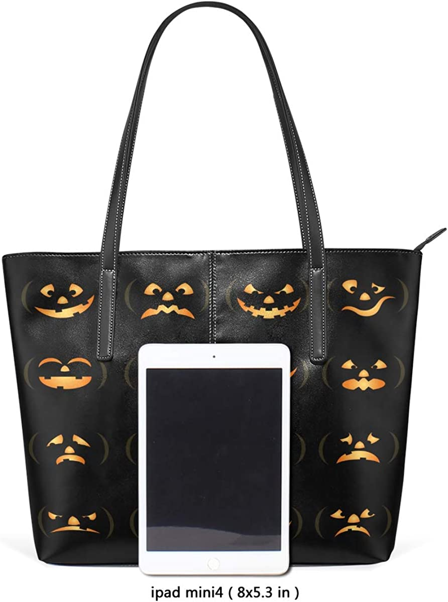 Halloween Pumpkin Lantern Leisure Fashion PU Leather Handbag for Women Large Tote Bag Shoulder Bag for Gym Beach Travel Daily Bags
