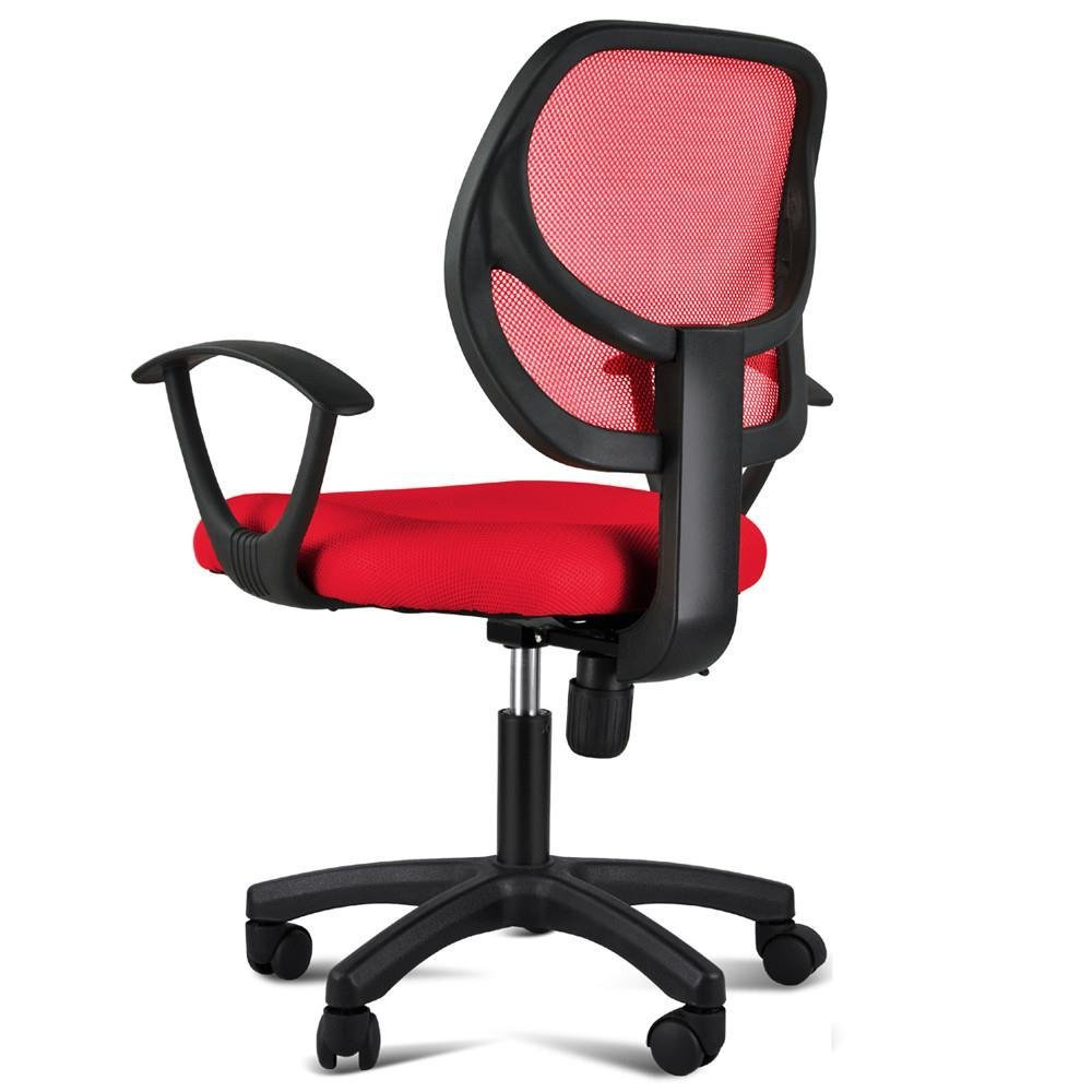 Topeakmart Adjustable Swivel Computer Desk Chair with Arms Seating Back Rest Fabric Mesh (Red)