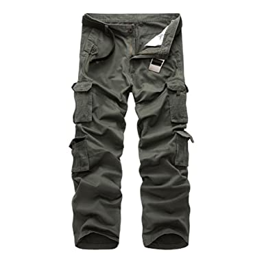 21a5f5ab17959c NiuZi Mens Loose Fit Cotton Casual Military Army Cargo Camo Combat Work  Pants (32,