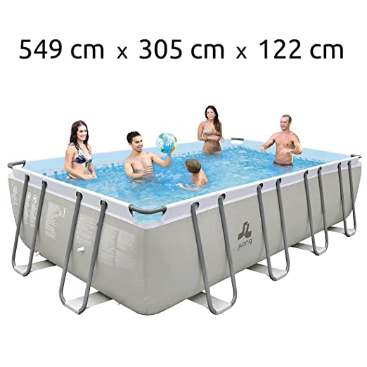 JILONG Swimming Pool Set Mistal Grey - Piscina con Armazón de Acero 549x305x122 cm con Filtro de Arena, Escalera para Piscina, toldo y Cubierta de Piscina, ...