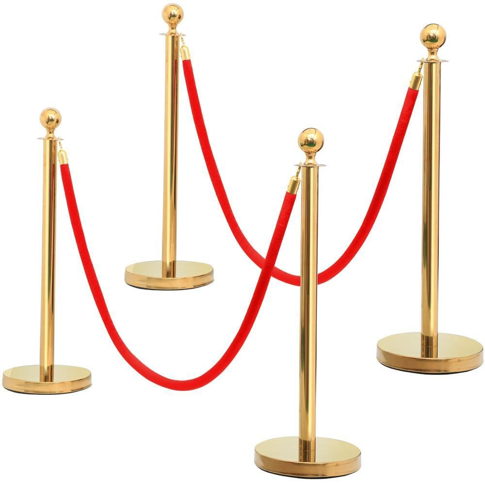 Yaheetech 4pcs Gold Round Top Stainless Steel Stanchion Crowd Control Barrier Posts w/6.5' Red Rope