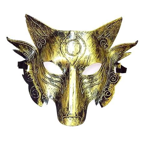 Newin Star Cosplay Wolf Kostüm Maske Full Face Maskerade Maske für Männer Frauen Halloween Party Spiel Dekoration - Golden