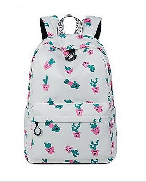 Amazon.com | Teecho Waterproof Classical School Backpack for Teenagers Casual Daypack for Women Beige Cactus | Kids Backpacks