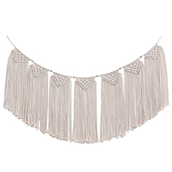 Macrame Wall Hanging Banner Large Boho Handmade Woven Curtain Fringe Garland Wall Art Home Decor With Adjustable Beads Flags For Bedroom Wedding