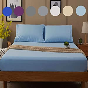SONORO KATE Bed Sheet Set Super Soft Microfiber Luxury Egyptian Sheets 16-Inch Deep Pocket Wrinkle and Hypoallergenic-4 Piece (Lake Blue, King)