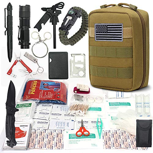 Cool Sen Survival First Aid Kit Emergency Survival Kit Upgraded 2-1 First Aid Supply Compatible Outdoor Survival Gear Tactical Gear Molle Trauma Bag for Camping Hunting Hiking Home Outdoor -