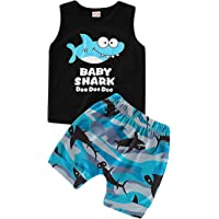 Ceny Baby Boy Girl Clothes Shark Sleeveless Outfits Set Tops and Short Pants