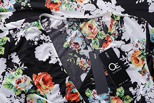 Pocket V Pattern Women Dress s Maxi OUGES Long Neck Black dIRXqxcw