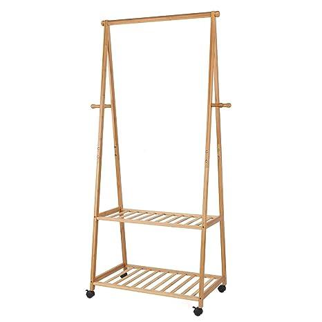 HOMFA. Perchero para abrigos de bambú con estanterías para ...