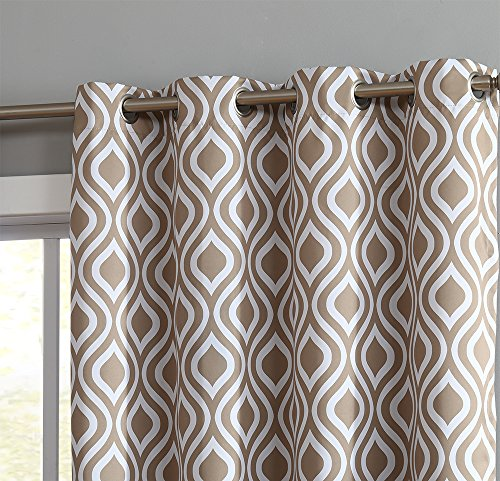 HLC.ME OGEE Trellis Print Blackout Grommet Curtain Panels for Window - 99% Light Blocking - Thermal Insulated Decorative Hanging Pair for Privacy & Room Darkening - Set of 2 (52