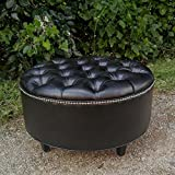 30'' BLACK Vegan Leather, Tufted Coffee Table Ottoman