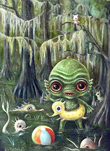 Baby Creature from the Black Lagoon Big Eye Art Print, Pop Surrealism, Mat & Size Options Available