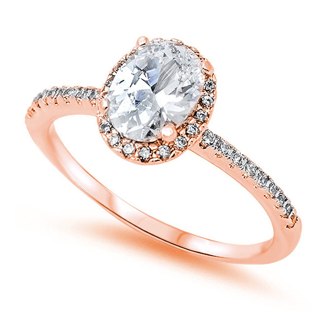 Accent Halo Wedding Promise Ring Oval Cut Cubic Zirconia Round CZ Rose Tone Plated 925 Sterling Silver, Size-8