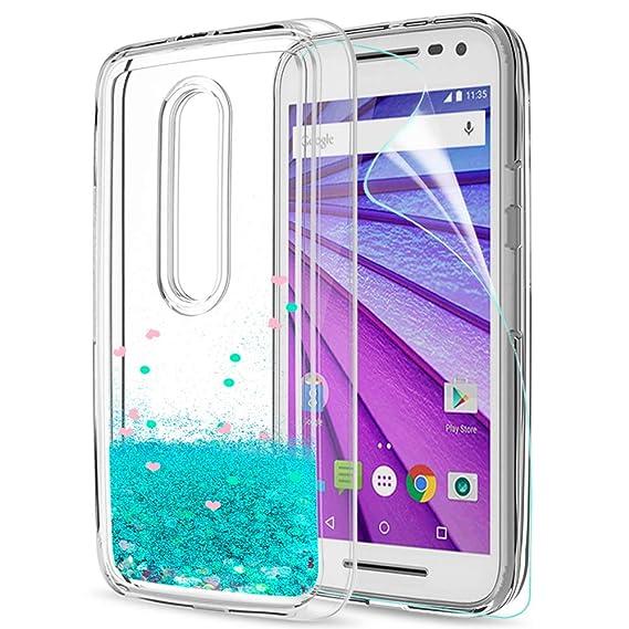 LeYi Funda Motorola Moto G3 Silicona Purpurina Carcasa con HD Protectores de Pantalla,Transparente Cristal Bumper Telefono Gel TPU Fundas Case Cover para ...
