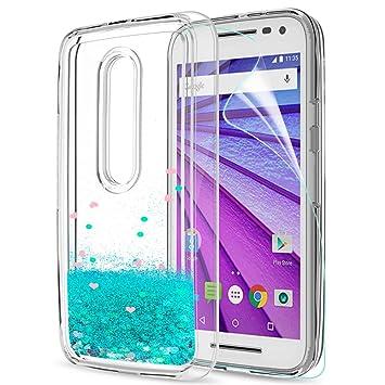LeYi Funda Motorola Moto G3 Silicona Purpurina Carcasa con HD Protectores de Pantalla,Transparente Cristal Bumper Telefono Gel TPU Fundas Case Cover ...