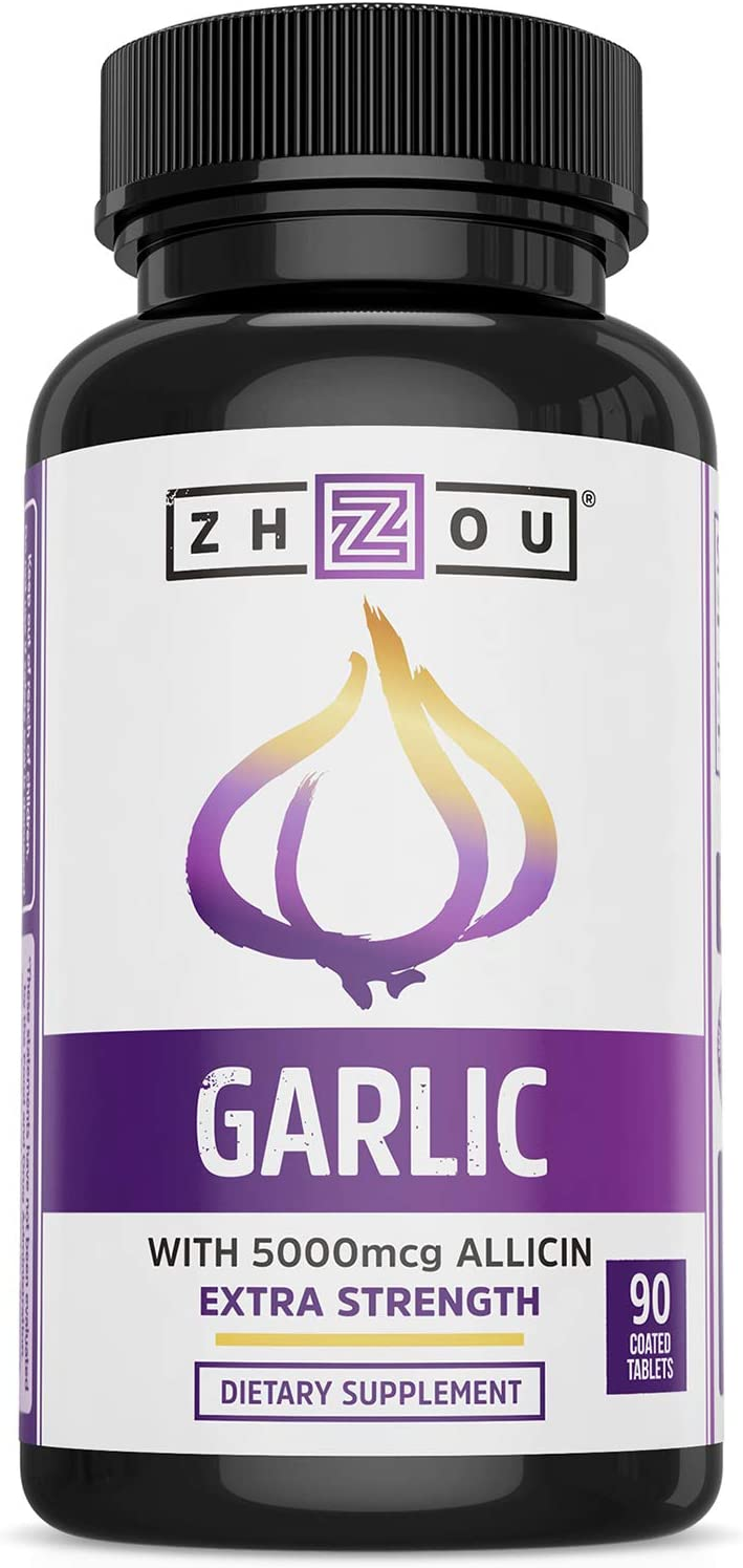 ZHOU Extra Strength Garlic with Allicin | Powerful Immune System Support | 90 CT