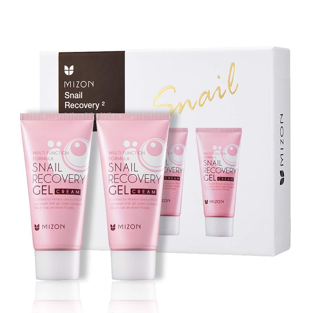 Mizon Snail Recovery Gel Cream by Power of Two, Set of Two Snail Recovery Gel Cream for Wrinkle Care Skin Elasticity and Moisture, Fragrance Free, Paraben Free (45ml 1.52 fl.oz) - 2 pcs
