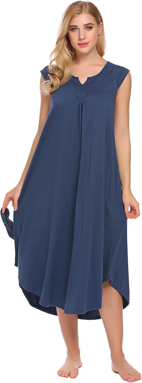 Ekouaer Nightgowns for Women Plus Size Sleepwear Womens Cotton Pajamas V Neck Lounge Wear