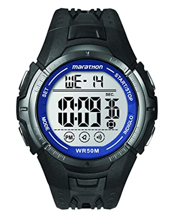 688d6402fd75 Amazon.com  Marathon by Timex Men s T5K359 Digital Full-Size Black Blue  Resin Strap Watch  Timex  Watches