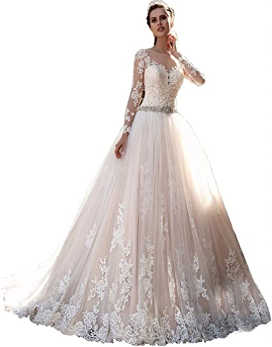 Chady Princess Lace Wedding Dress Ball Gown Long Sleeves Wedding Dresses 2018 Backless Bridal Gowns At Amazon Women S Clothing Store