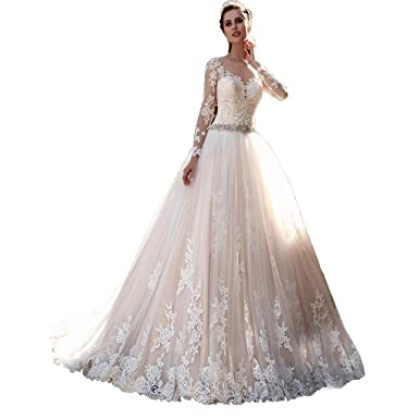 713b34391f Chady Princess Lace Wedding Dress Ball Gown Long Sleeves Wedding ...