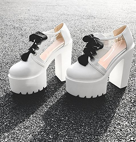 Mujer Grueso White Tacon De Zapatos Zapatos Tacon Bar Treinta Club De Rendimiento Y Gruesa Suela De De Alto Thirty Impermeabilizacion Night Zapatos Sola four Cinco GTVERNH Hw8zz