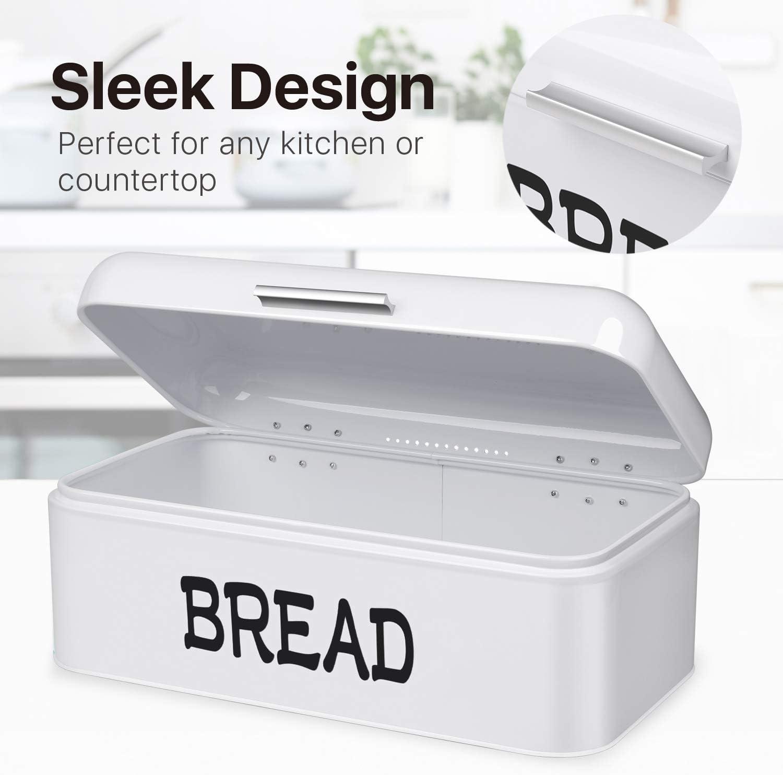Flexzion Panera de metal vintage para encimera de cocina camping contenedor de almacenamiento de acero pan viajes caf/é panader/ía refrigerador panera para m/áquina casera ahorra espacio
